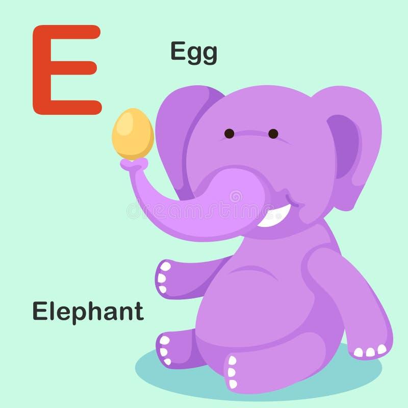 E-oeuf animal de lettre d'alphabet d'isolement par illustration, éléphant illustration stock