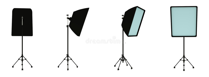 E Ohne shodow Fotograf ` s Ausr?stung Beleuchten des Stands renderin 3D stock abbildung
