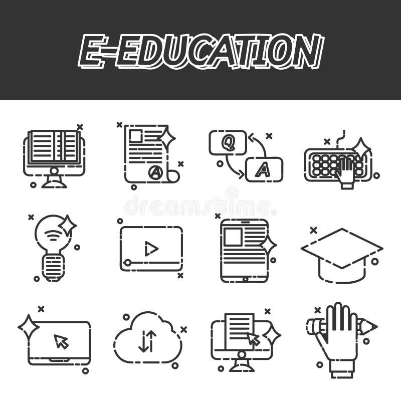 E-onderwijs vlakke geplaatste pictogrammen vector illustratie