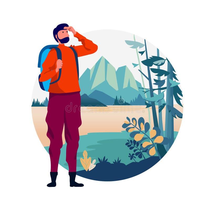 E openluchtvakantierecreatie in aardthema van wandeling, het beklimmen, trekking Vector vector illustratie