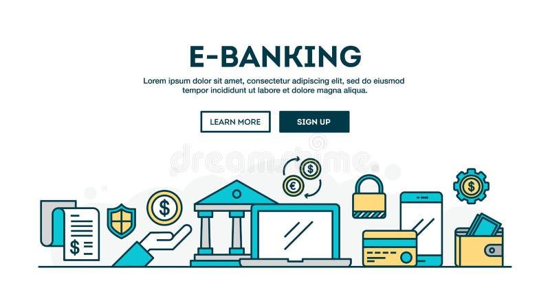E-operação bancária, encabeçamento colorido do conceito, linha fina estilo do projeto liso ilustração stock