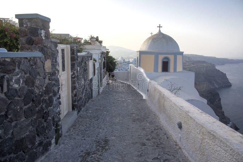 E Opinião panorâmico do mar de Thira Ilha de Grécia Santorini em Cyclades - Immagine imagens de stock royalty free