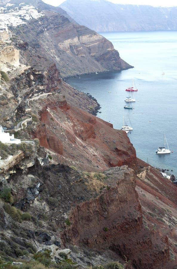 E Opinião panorâmico do mar de Thira Ilha de Grécia Santorini em Cyclades - Immagine fotos de stock