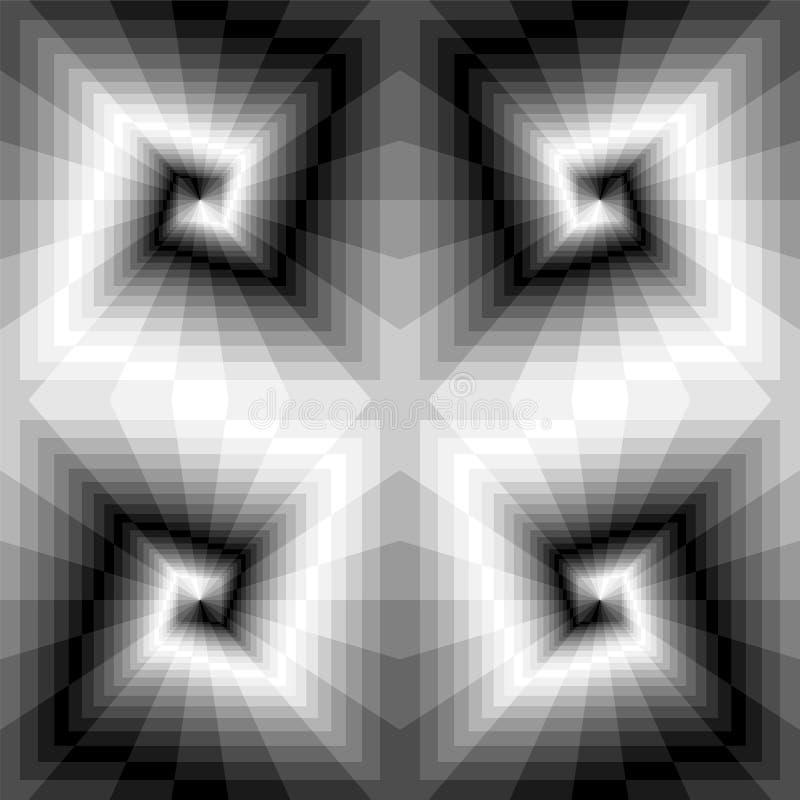 E Optische illusie van Perspectief en Volume Geschikt voor Webontwerp vector illustratie