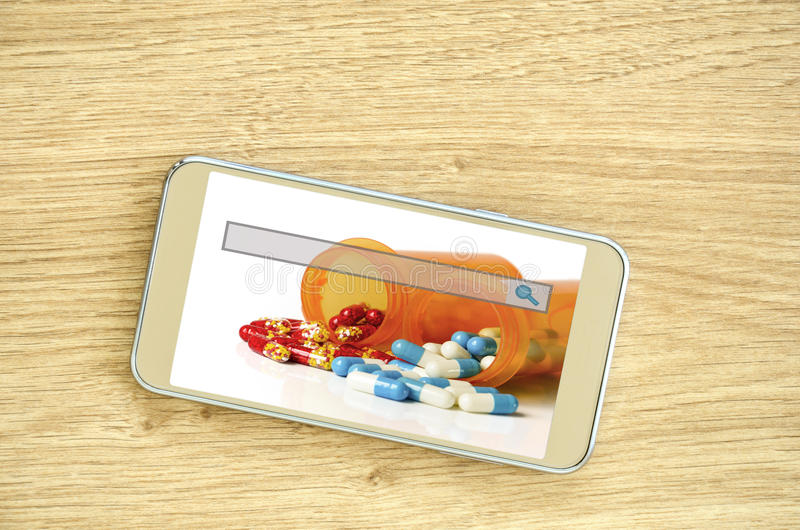 E-ordre et concept en ligne de prescription de recharge photo stock