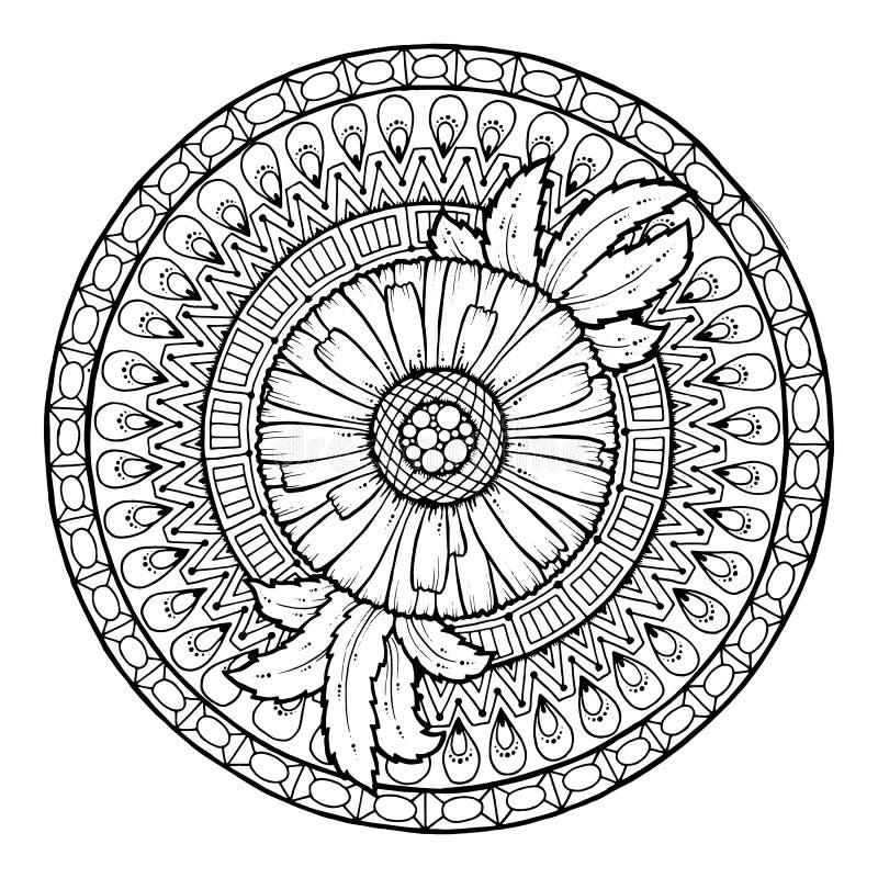E Ornement de fleur de griffonnage d'été de cercle Mandala tiré par la main d'art de marguerite illustration de vecteur
