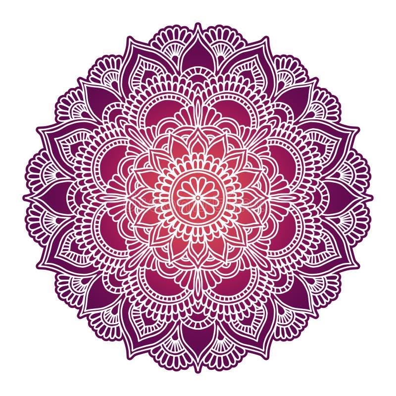 E Ornement ethnique de cercle Élément rond indien traditionnel tiré par la main Henné spirituel de yoga de méditation illustration stock