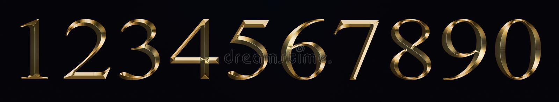 E os números 0, 1, 2, 3, 4, 5, 6, 7, 8, 9 para a celebração do ano novo do aniversário assinam a textura efervescente do ouro de  imagem de stock