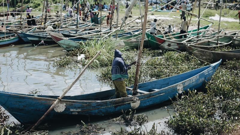 E Pêcheur travaillant au bateau photo libre de droits