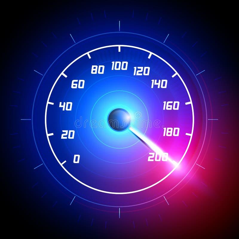 E Painel rápido da medida do projeto da tecnologia da raça do medidor de velocidade r ilustração stock