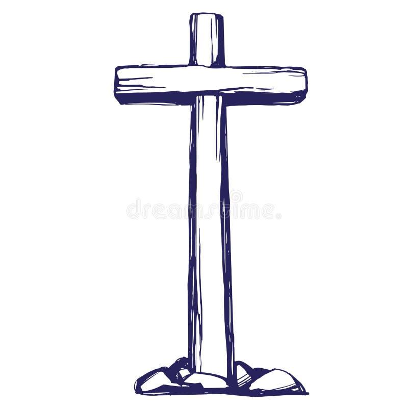 E pasqua simbolo dello schizzo disegnato a mano dell'illustrazione di vettore di Cristianità illustrazione vettoriale