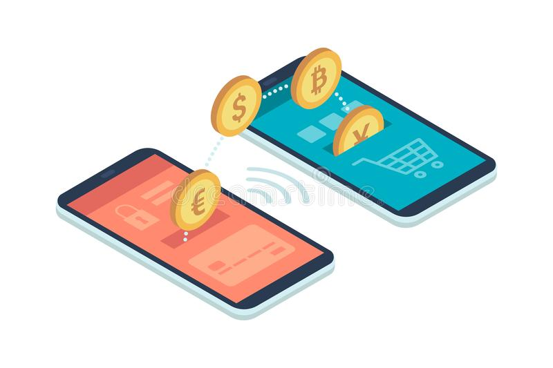 E-payment app on smartphone stock illustration