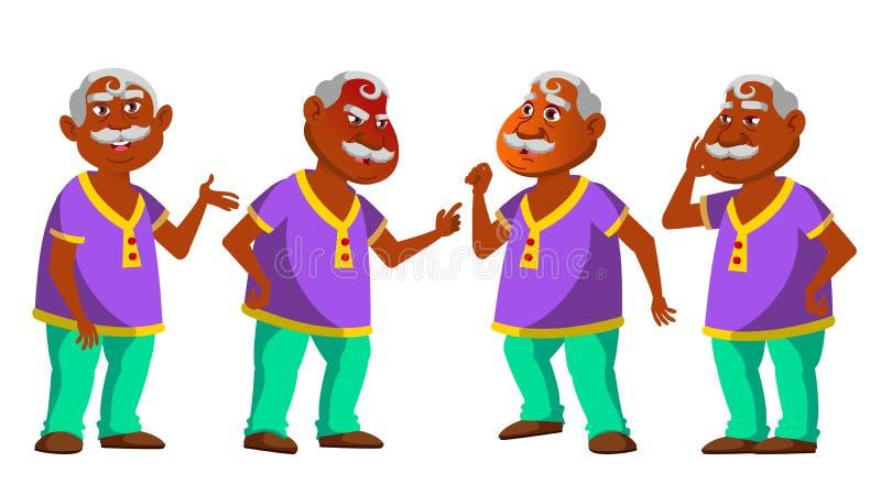 E Pessoas adultas hindu Pessoa superior envelhecido Pensionista cômico lifestyle r ilustração do vetor