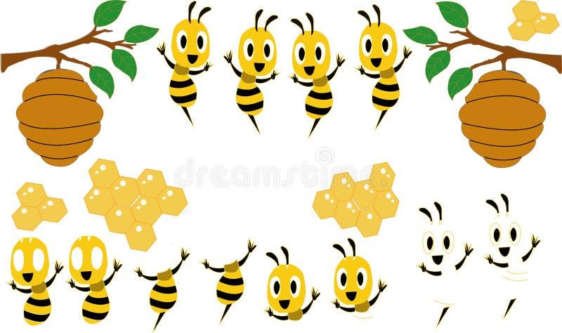 E Piękna śliczna pszczoła r wektorowa ilustracja odizolowywał 2019 ilustracja wektor