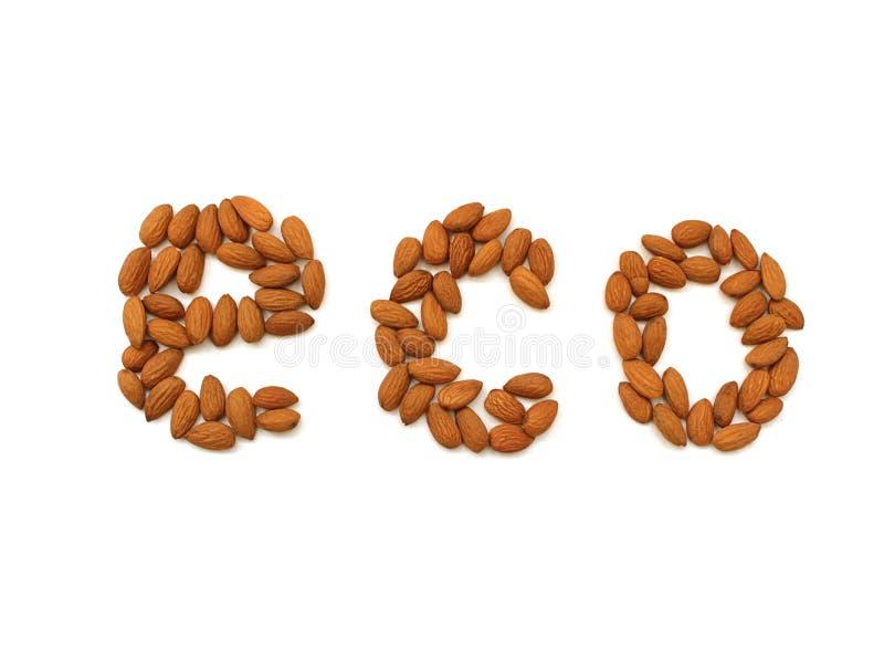 E Pila de almendras seleccionadas cerca para arriba Alimento biol?gico fotografía de archivo