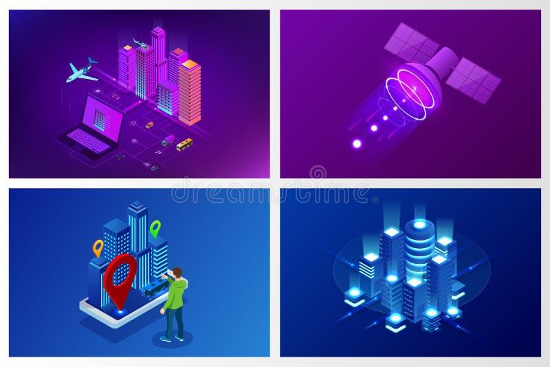 E Plantilla del sitio web del concepto Ciudad elegante con los servicios inteligentes y los iconos, Internet de las cosas, redes libre illustration