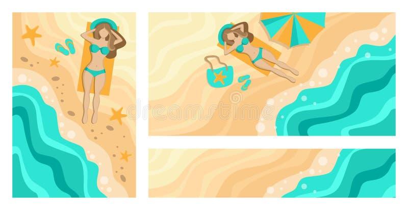 E Playa y mar Muchacha que toma el sol por el mar Conjunto de banderas ilustración del vector