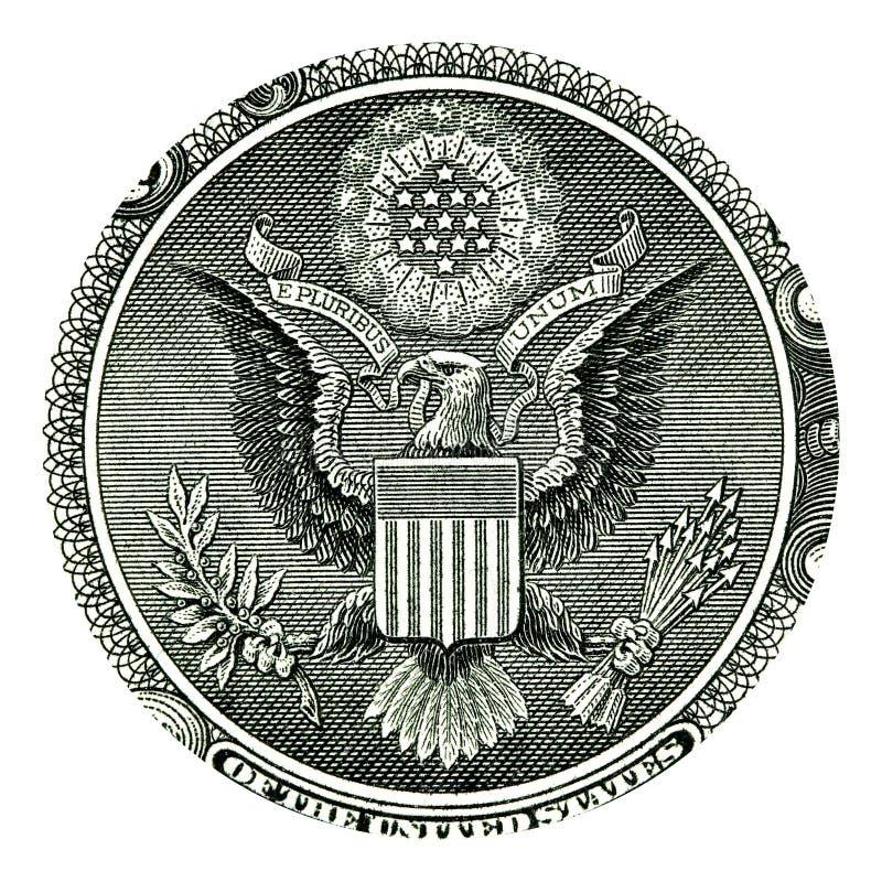 E Pluribus Unum Seal on US One Dollar Bill royalty free illustration