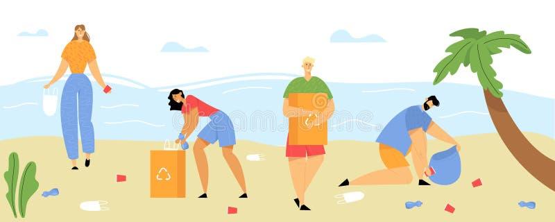E Poluição do beira-mar com lixo r ilustração do vetor