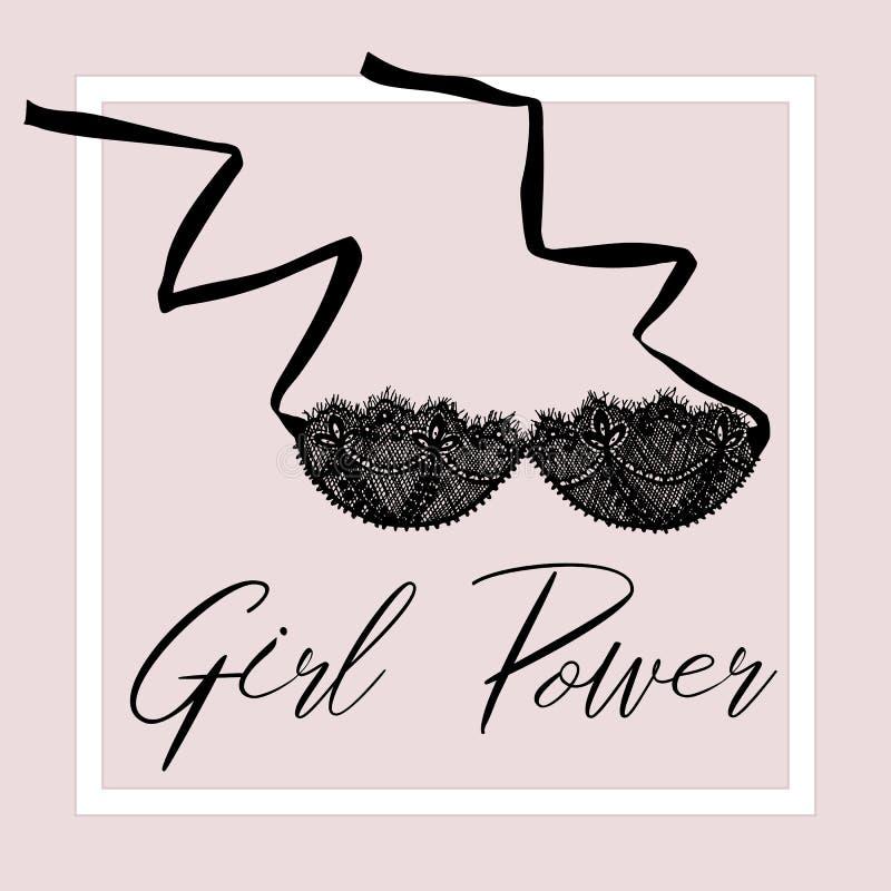 Ard del ¡de Ð con una imagen de un sujetador Poner letras a poder de la muchacha r stock de ilustración