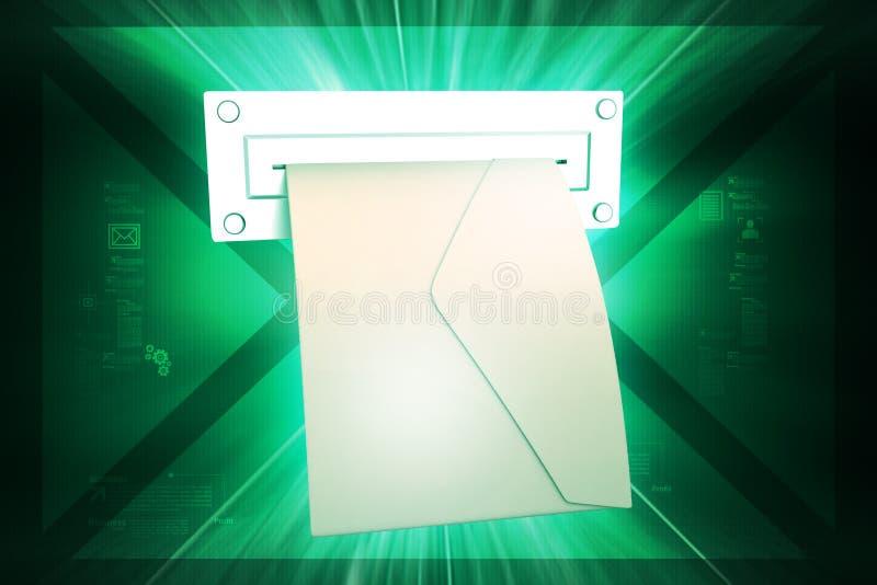 E - post met tabletcomputer stock illustratie