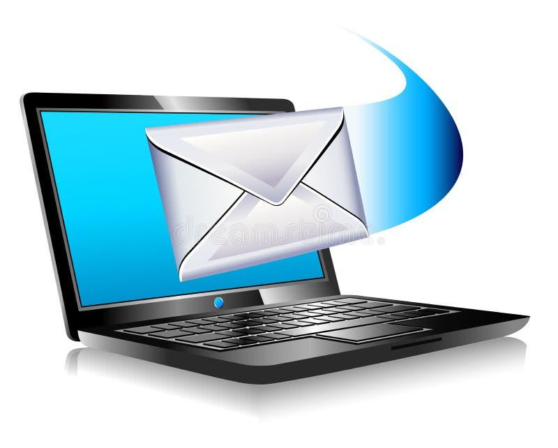 E-post som postar bärbar dator för värld SMS royaltyfri illustrationer