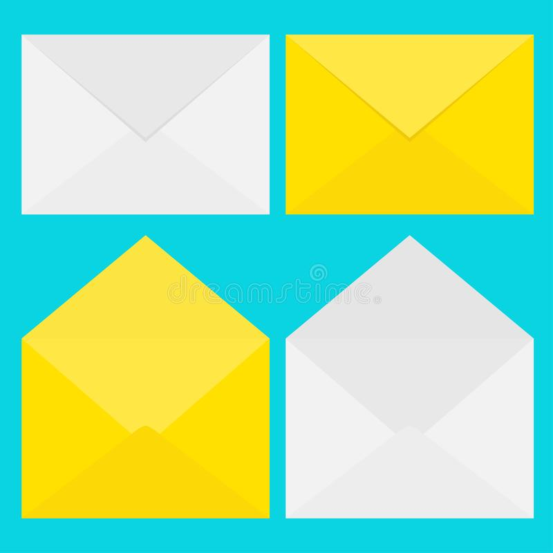 e-posten packar öppet motta för symbolsposter in Pappers- kuvertuppsättning för vit och för guling Bokstavsmall Nytt meddelandete royaltyfri illustrationer