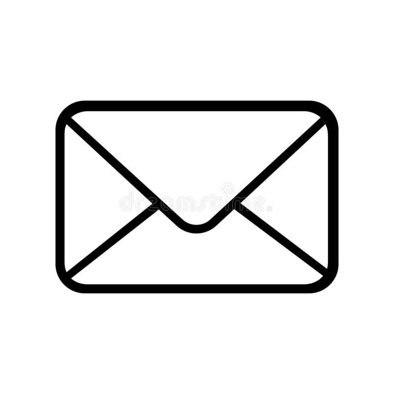 e-posten packar öppet motta för symbolsposter in Skissera emailsymbolen som isoleras på den vita bakgrundsvektorillustrationen stock illustrationer