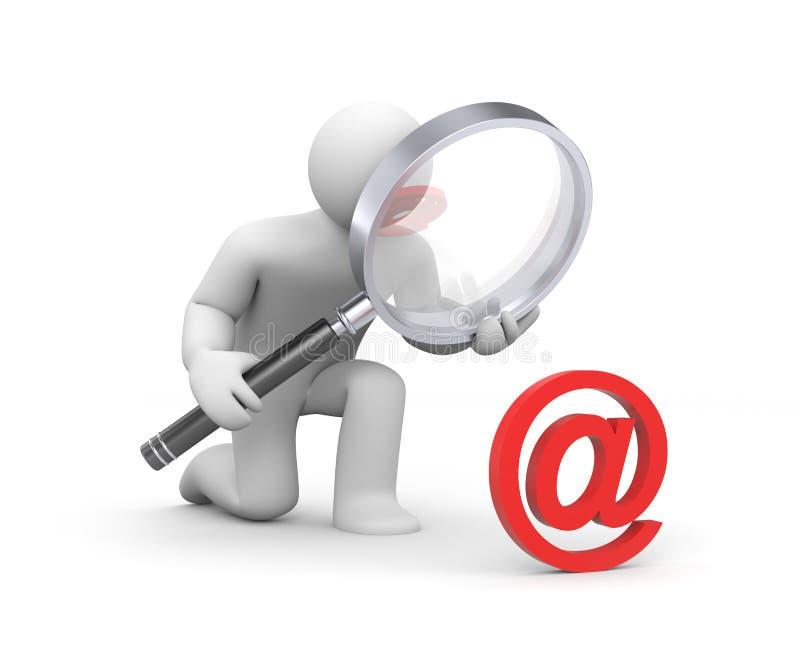 e-posten undersöker persontecknet royaltyfri illustrationer