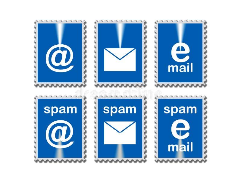 E-postsymboler i stämpel inramar stock illustrationer