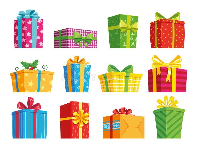 E Presentes de Natal, caixas gifting e presentes de feriados atuais do inverno Encaixotamento secreto com surpresas ilustração stock