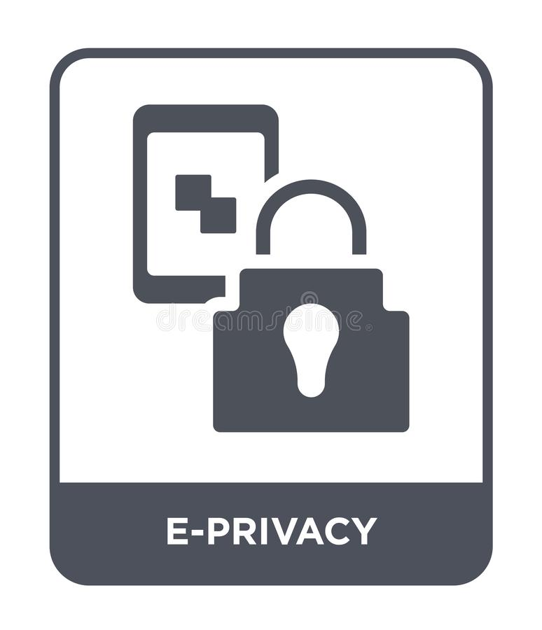 e-privacy icon in trendy design style. e-privacy icon isolated on white background. e-privacy vector icon simple and modern flat stock illustration