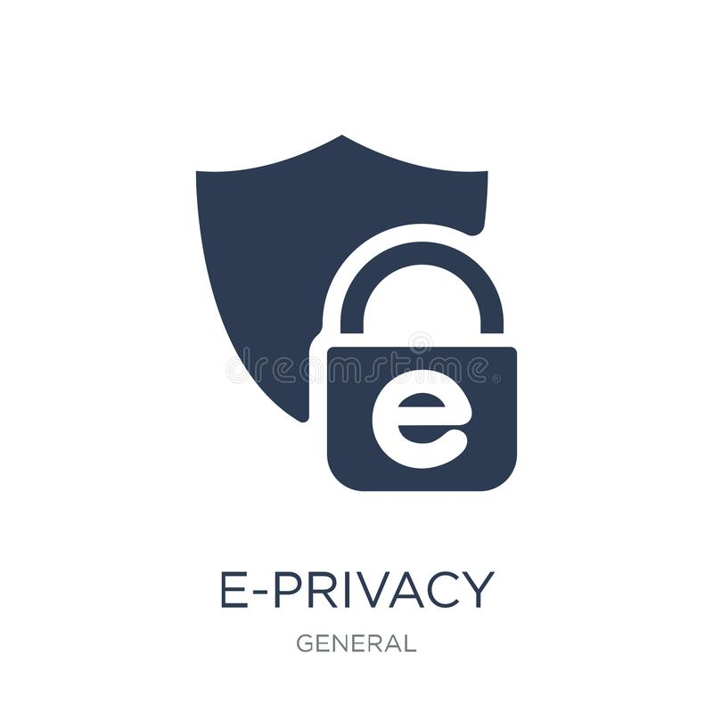 e-privacy icon. Trendy flat vector e-privacy icon on white background from general collection royalty free illustration