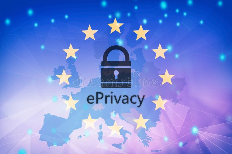 E privacy text on EU flag and map background. 3d illustration vector illustration