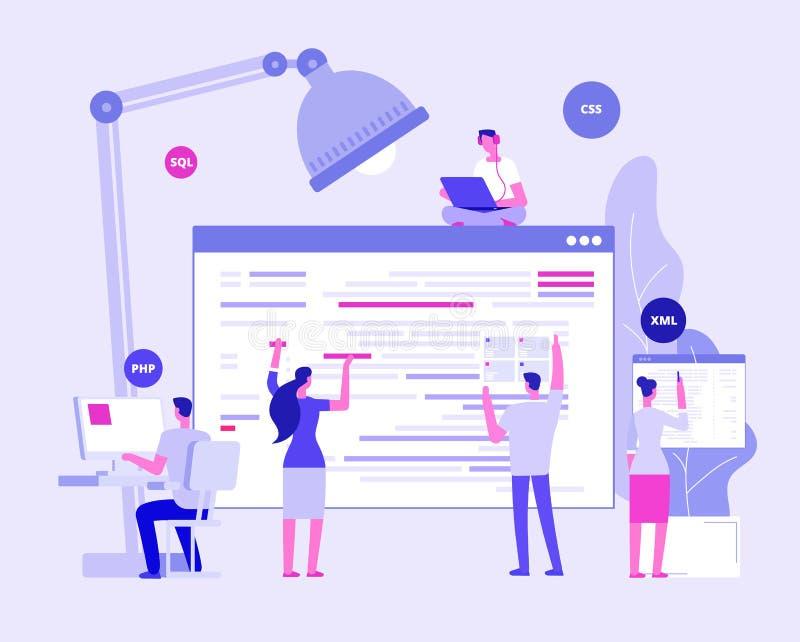E Projektanci i programers tworzą korporacyjnego miejsce Strony internetowej cyfrowania wektoru pojęcie ilustracja wektor