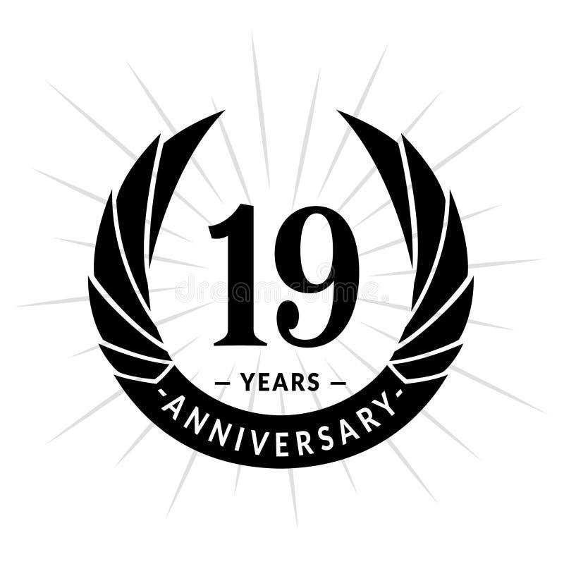 E Projeto elegante do logotipo do aniversário Dezenove anos de logotipo ilustração do vetor