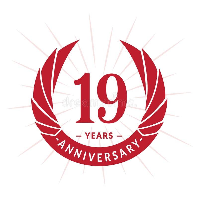 E Projeto elegante do logotipo do aniversário Dezenove anos de logotipo ilustração stock