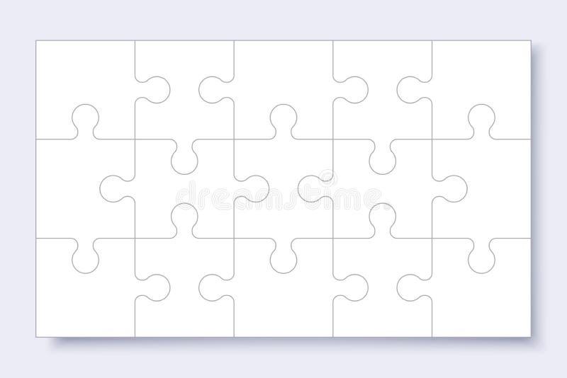 E Puzzle mit Stücken, denkendes Spiel, Laubsägendetailrahmen für Geschäftsdarstellung mit Schatten lizenzfreie abbildung