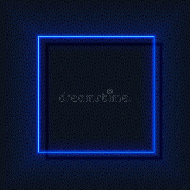E-quadrato al neon, struttura nei colori blu, spazio vuoto di VETTORE di incandescenza illustrazione vettoriale
