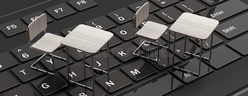 E que aprende, conceito webinar Mesas brancas em um teclado de laptop preto, bandeira, ilustração royalty free