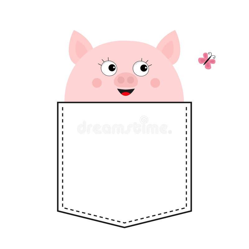 E Różowy motyl śliczna zwierzę kreskówka Prosiątko prosiaczka charakter Junakowanie linia Bielu i czerni kolor T- ilustracji