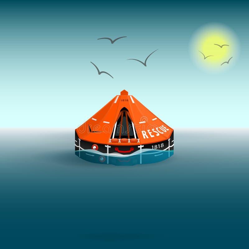 在海上救出一只橙色筏子 《海鸥与太阳》 水上救赎 矢量插图 库存例证
