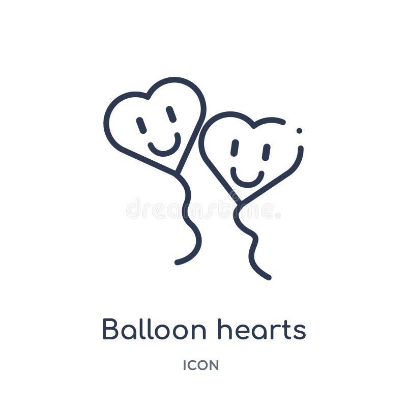 游戏大纲集合中的线性气球红心图标 白色背景上孤立的细线气球红心图标 气球 库存例证
