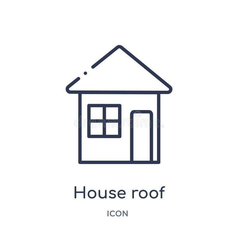 Значок линейной крыши из коллекции строительных обводок икона крыши тонкой линии, изолированная на белом фоне крыша дома иллюстрация штока