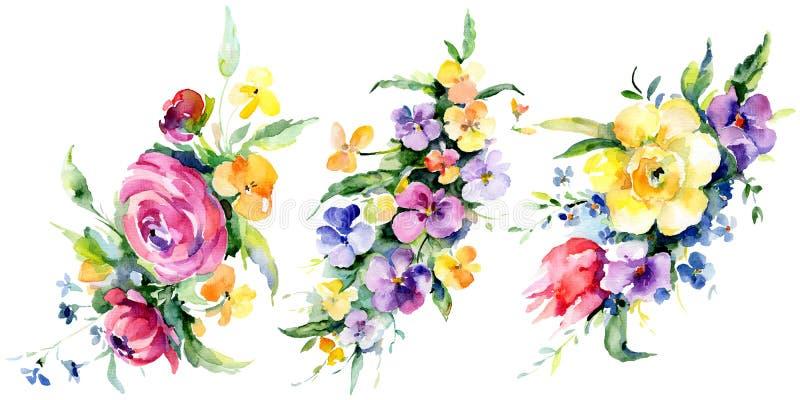 Ανθοδέσμες άνθη βοτανικά Σύνολο απεικόνισης φόντου υδατοχρώματος Απομονωμένο στοιχείο απεικόνισης μπουκέτου ελεύθερη απεικόνιση δικαιώματος