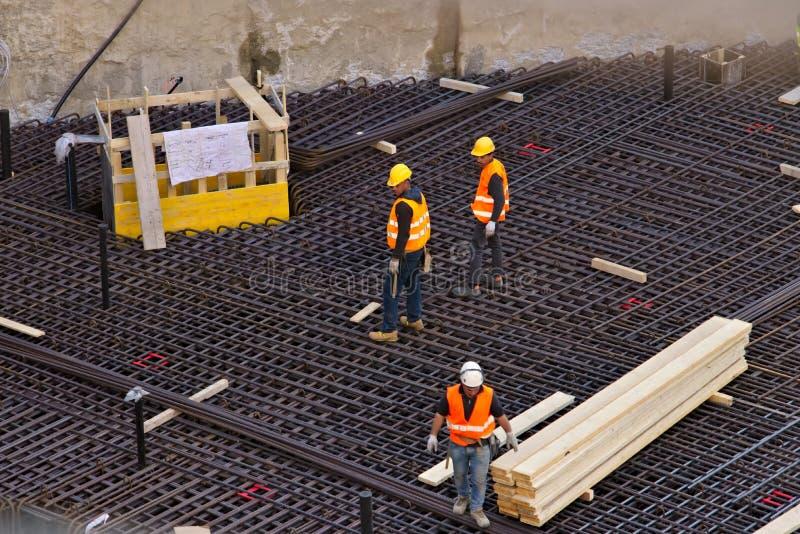 E r Εργοτάξιο οικοδομής για τη νέα κατασκευή στην περιοχή εμπορικού κέντρου στοκ εικόνες με δικαίωμα ελεύθερης χρήσης
