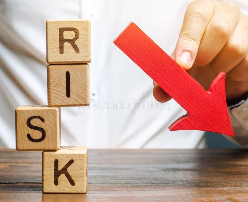 Ξύλινα τετράγωνα με τη λέξη Κίνδυνος και κάτω βέλος Μείωση του χρηματοοικονομικού κινδύνου για επενδύσεις και κεφάλαια Προστασία  στοκ φωτογραφία με δικαίωμα ελεύθερης χρήσης