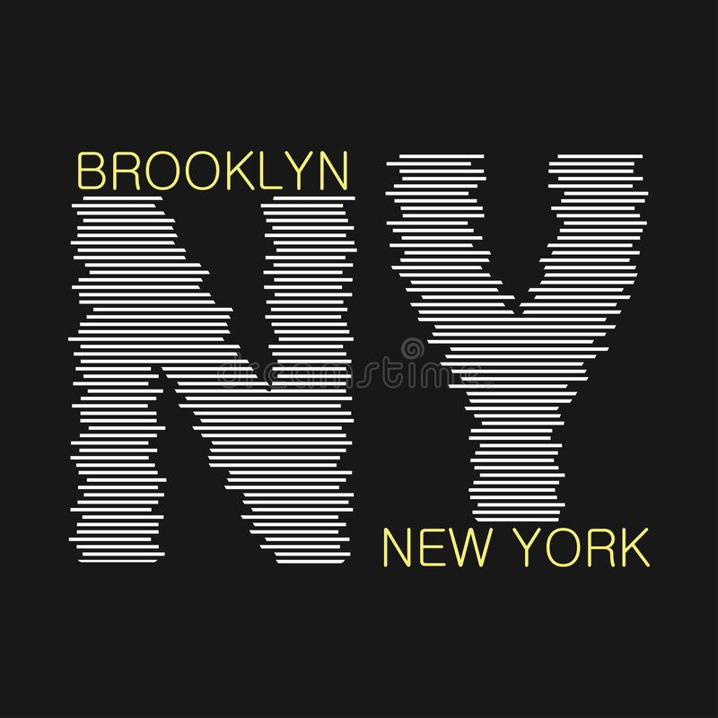 Графика Нью-Йорка Бруклинская печать для футболки, дизайн одежды Отметка для спортивного аппареля Вектор иллюстрация вектора