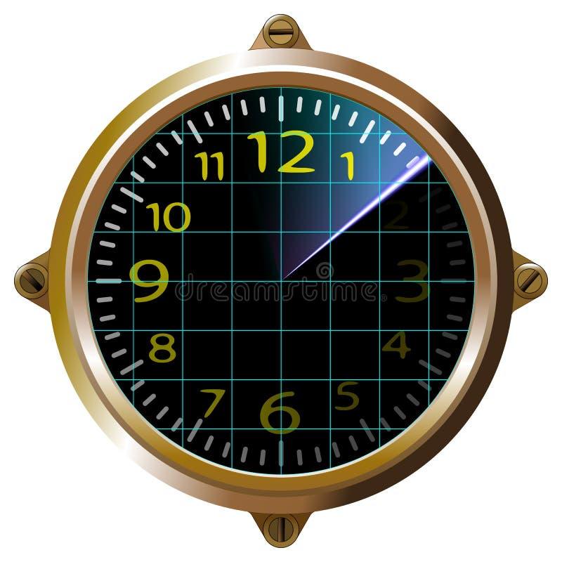 РЛС желтого аппарата футуристических часов Интерфейс пользователя сенсорной панели панели мониторинга Gage Скриншотное устройство иллюстрация вектора