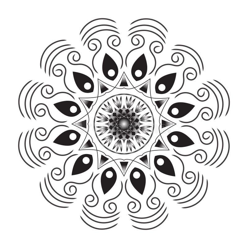 Цветок Мандала Винтажные декоративные элементы Ориентировочная модель, иллюстрация Ислам, арабский, индийский, марокканский, испа иллюстрация вектора